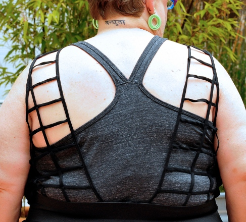 Lattice Back with Gray T-Back Tee and Bra