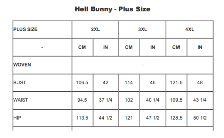 hell bunny size chart